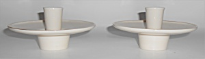 Franciscan Pottery Contours Art Ware Pair White Candles