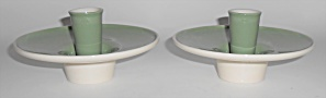 Franciscan Pottery Contours Art Ware Pair Green Candle