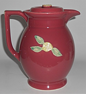 Coors Pottery Rosebud Large Red Covered Pitcher