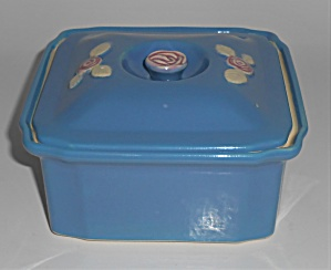 Coors Pottery Rosebud Blue Refrigerator Base W/lid