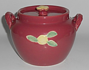 Coors Pottery Rosebud Red Utility Jar W/lid