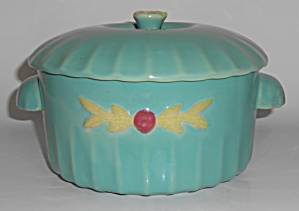 Coors Pottery Rosebud Green Large Dutch Casserole