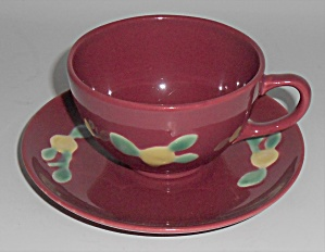 Coors Pottery Rosebud Red Cup & Saucer Set