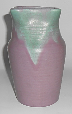 Muncie Art Pottery Matte Green Over Lilac 7.5in Vase