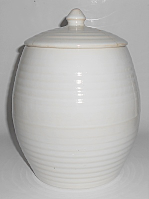 Bauer Pottery Ring Ware White Cookie Jar W/lid