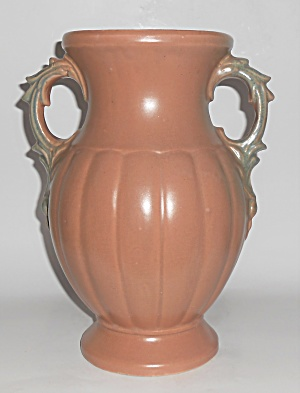 Nelson Mccoy Art Pottery Tan/green Twin Handles Vase