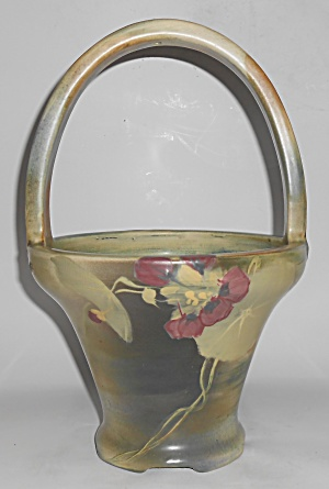 Early Weller Art Pottery Copra Large Floral Decorated B