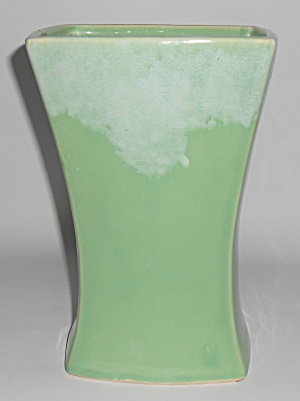 "Mccoy Art Pottery White Drip Over Green 9.5"" Vase"