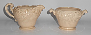 Franciscan Pottery Victoria Old Ivory Creamer & Sugar