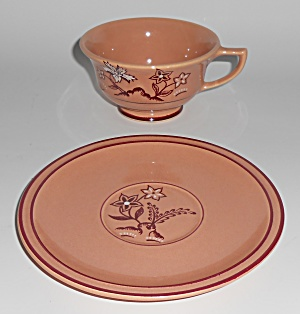 Franciscan Pottery Tiger Flower Coral Cup & Saucer Set
