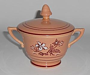 Franciscan Pottery Tiger Flower Coral Sugar Bowl (Image1)