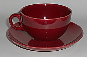 Franciscan Pottery El Patio Maroon Jumbo Cup & Saucer S