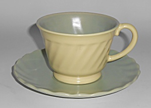 Franciscan Pottery Wishmaker Green/Yellow Cup & Saucer  (Image1)
