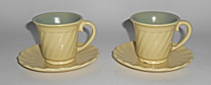Franciscan Pottery Wishmaker Pair Yellow/green Demi