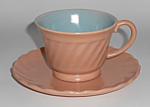 Franciscan Pottery Wishmaker Coral/blue Cup & Saucer