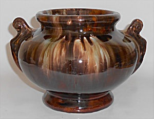 Brush Mccoy Pottery Brown Onyx Handled Urn Vase 4