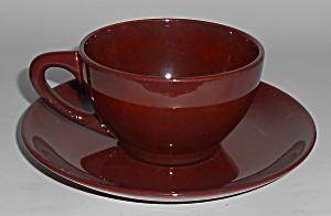 Franciscan Pottery Catalina Rancho Red/Brown Cup & Sau (Image1)