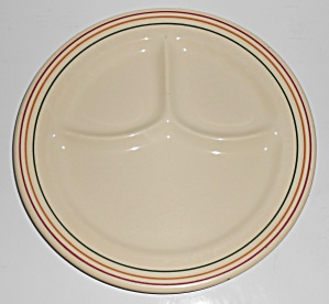 Iroquois China Restaurant Ware Tri-color Bands Grill Pl
