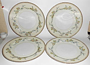 Sampy Fine China Japan Les Fleurs Set/4 Dinner Plates