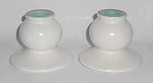 Franciscan Pottery El Patio Pair Ivory/green #133 Candl