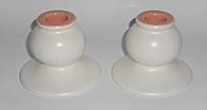 Franciscan Pottery El Patio Pair Ivory/coral #133 Candl