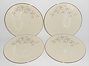 Lenox China Wyndcrest Platinum Band Set/4 Saucers