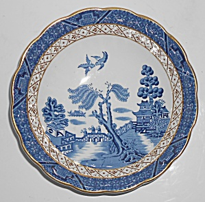 Booths China Real Old Willow Blue W/gold Soup/cereal