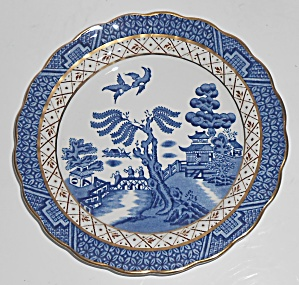Booths China Real Old Willow Blue W/gold Bread Plate