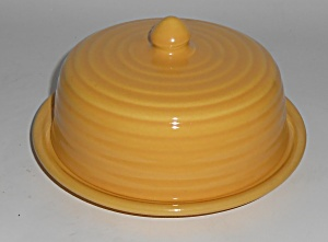 Bauer Pottery Ring Ware Yellow Butter Dish Set