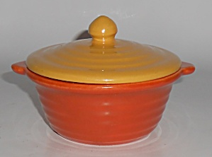 Bauer Pottery Ring Ware Orange Baking Dish W/yellow Lid