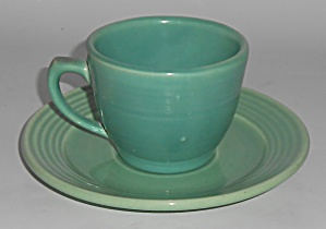 Bauer Pottery Monterey Ring Jade Cup & Saucer Set