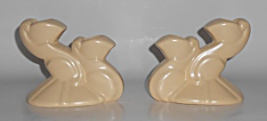 Bauer Pottery Cal-Art Ray Murray Pr Ivory Candlesticks (Image1)