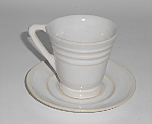 Pacific Pottery Hostess Ware White Demitasse Cup & Sau