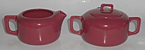 Coors Pottery Rock-Mount Red Creamer & Sugar Bowl Set (Image1)