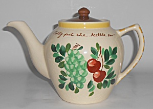 Bauer Pottery Fruit Decorated Motto Teapot w/Lid (Image1)