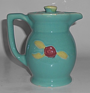 Coors Pottery Rosebud Green Small Covered Pitcher Rober