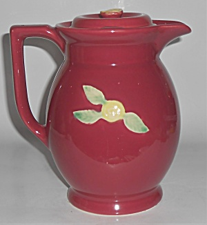Coors Pottery Rosebud Red Large Covered Pitcher Robert