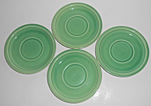 Coors Pottery Rock-mount Set/4 Green Saucers Robert Sch