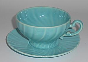Franciscan Pottery Coronado Gloss Turquoise Cup & Sau (Image1)