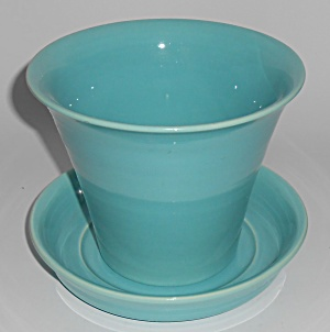 Franciscan Tropico Art Ware Gloss Turquoise Flower Pot  (Image1)