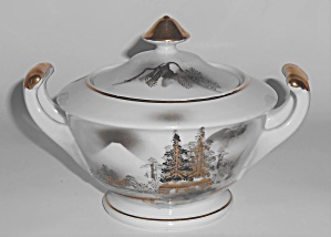 Kutani China Porcelain Gold Countryside Mt Fuji Trees S
