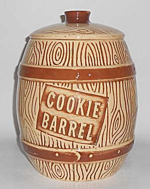 Watt Pottery Ovenware Wood Grain 617w Cookie Barrel Jar