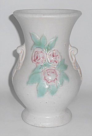 Brush Mccoy Pottery 8'' White W/floral Decoration #741