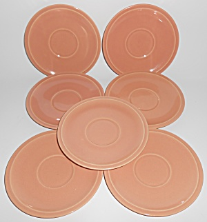 Franciscan Pottery Montecito Gloss Coral Set/7 Saucers