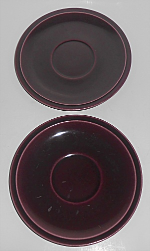 Franciscan Pottery Montecito Pair Eggplant Saucers