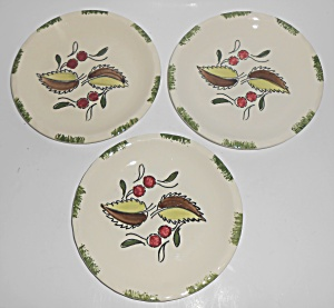 Blue Ridge Pottery China Wild Cherry Set/3 Bread Plates