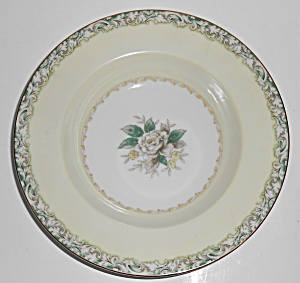 Noritake China White Rose W/gold Mystery 14 Rimmed Soup