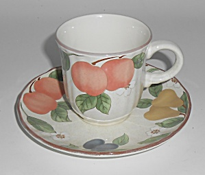 Mikasa China Fruit Panorama Demitasse Cup & Saucer Set