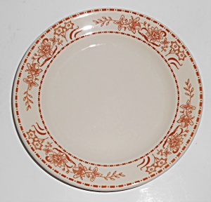 Shenango Restaurant Ware China Brown Floral Plate