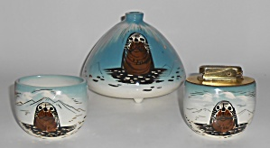 Sascha Brastoff Pottery Alaska Series 3-piece Smoking